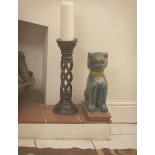 Wooden Twisted Design Candle Holder