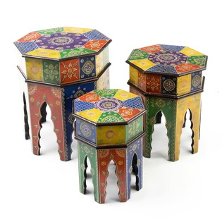 Hand Painted Wooden Nest of Tables
