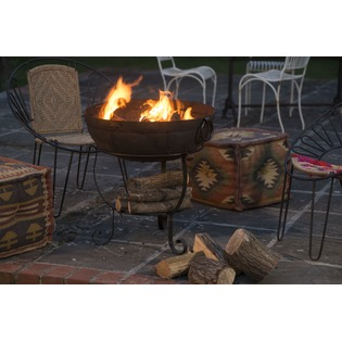 Recycled Fire Bowl including Low and High Stand with Shelf and Grill